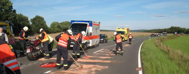 Heute am frühen Abend wurden wir zu einem Verkehrsunfall alarmiert. Auf der B 485 Richtung Netze war ein Motorrad verunfallt [...]